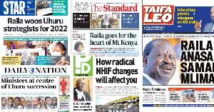 Magazetini: Raila kuwatumia waliodaiwa kumuibia kura 2017 kupanga kampeni 2022