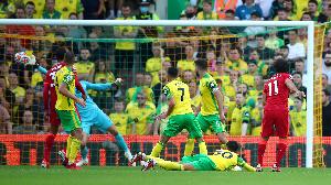 Winga wa Liverpool, Mohamed Salah akifunga bbao la tatu dhidi ya Norwich