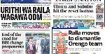 Magazeti Jumatano, Mei 5: Kiatu cha Raila chazua mpasuko ODM