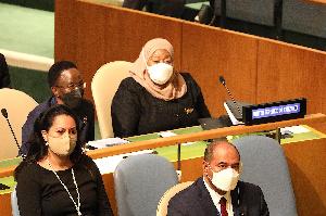 Rais Samia Suluhu Hassan, akiwa katika kumbi za Mkutano wa Wakuu wa nchi New York