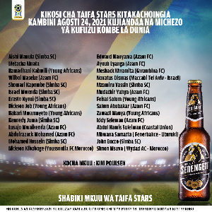 Kikosi cha Taifa Stars kilichoitwa kuingia kambini 24 Agosti
