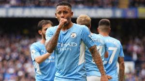 Mshambuliaji wa Man City akishangilia goli dhidi ya Chelsea